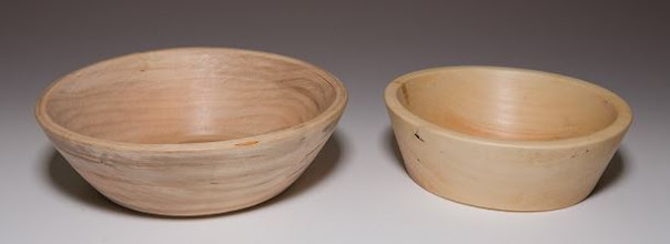 "Photo: Stan Sherman 3""x5"" and 3""x4"" bowls [apple]"