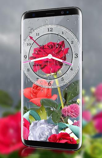 Rose Analog Clock 3D: Rain Drop Live Wallpaper HD 1.3 screenshots 2