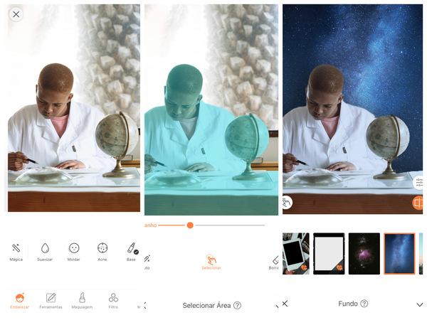 Montagem com 3 fotos da mesma mulher trabalhando. Nessa montagem mostra uma edição usando as ferramentas do AirBrush.