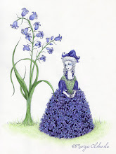 """Photo: """"Hyacinth in Waiting"""" Some more new work. Completed with micron pens + waterproof colour inks. 9x12 inches. The imagery here is the hyacinth lady in waiting from """"Little Ida's Flowers"""" - a fairytale by Hans Christen Andersen."""
