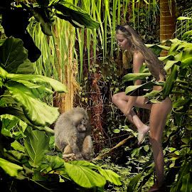 See no evil by Sandy Scott - Digital Art People ( woman, humor, nudity, ape, moneky, jungle, foilage, female, digital art, implied nudity )