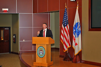 Photo: Dr. Daniel M. Bell, Jr., CGSC's General Hugh Shelton Distinguished Visiting Chair in Ethics, provides an opening presentation to attendees of the 2014 Fort Leavenworth Ethics Symposium.