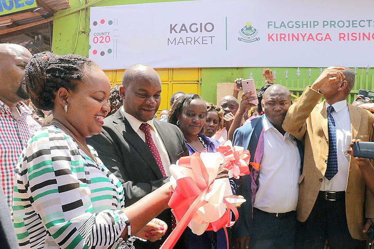 Governor Anne Waiguru and deputy Peter Ndambiri commission Kagio Market, Kirinyaga, in March