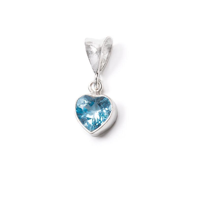 Blå topas, hänge med fasettslipat hjärta