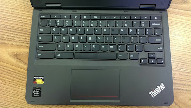 Photo: The traditional Chrome OS keyboard. This model does ~not~ have the extra Home, End, Insert, Delete, and PgUp/PgDown keys that the previous x131e had.