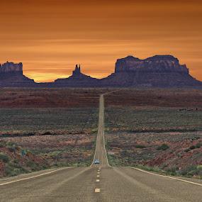 Monument Valley Rt. 163 by Mike Lennett - Transportation Roads ( desert, utah, distant, monument, mike lennett, valley, road, long )