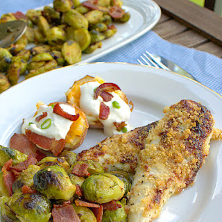 Baked Chicken Parmesan, Seared Brussel Sprouts with Bacon & Vinaigrette, Twice Baked Potatoes.