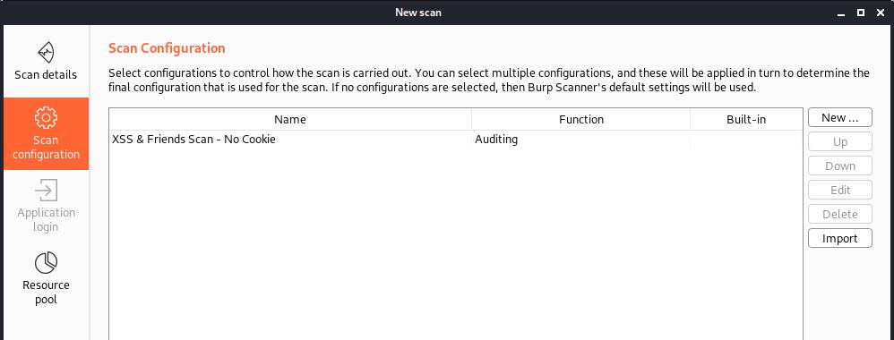 """XXS & Friends - no cookie"" screenshot of Burp Suite config library"