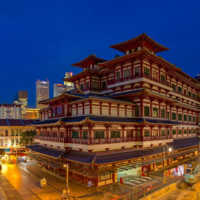 The Place of Buddha by Binoy Uthup - Buildings & Architecture Public & Historical ( old, hdr, buddha temple, blue hour, the buddha tooth relic temple, chinatown, cityscape, travel, museum, landscape, digitalblending, hdr photography, singapore, buddha, historic, heritage, city, nightscape, history, temple, night photography, culture, china town )