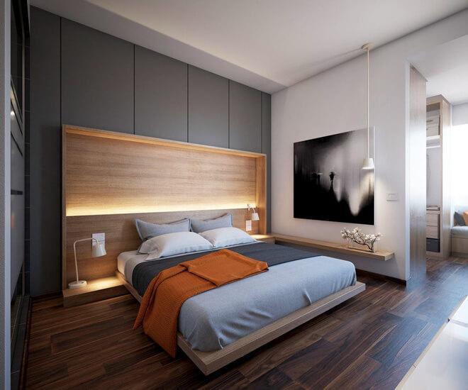 Phòng ngủ màu xám trắng 3