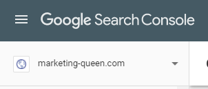 Google Search Console drop down menu