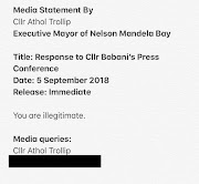 A screengrab of a terse statement issued by Athol Trollip on September 5 2018. The former Nelson Mandela Bay mayor confirmed the statement. TimesLIVE has edited out his phone number.