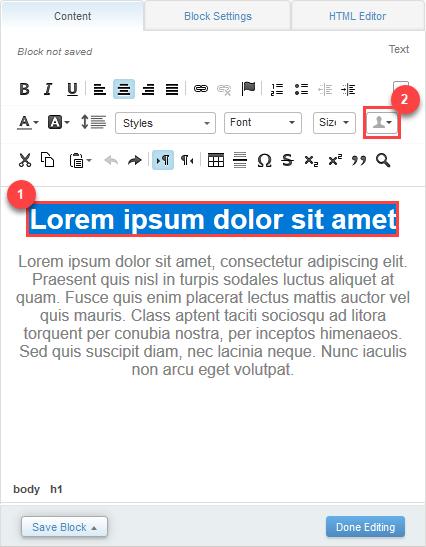 Capture d'écran montrant l'onglet de contenu avec le titre «Lorem ipsum dolor sit amet» surligné en bleu. Le texte est entouré d'une boîte rouge et du chiffre1 à côté. L'icône de profil est également soulignée dans une zone rouge avec le chiffre2 à côté.