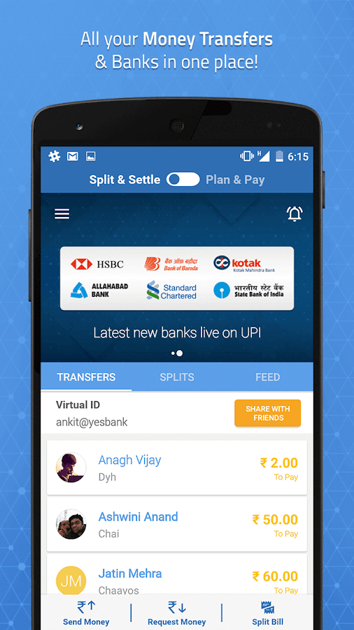 UPI Bank Transfer with Friends- screenshot