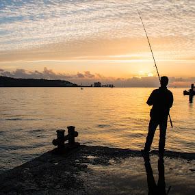 Fishing at sunset by Leonor Machado - Landscapes Sunsets & Sunrises ( rio, sunset, lisbon, fisherman, river, pôr do sol,  )