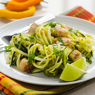 Zucchini Noodles with Chicken, Cilantro and Lime.
