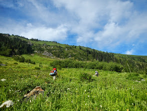 Photo: Heading up steep meadows on the way to the PCT