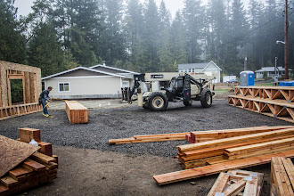 Photo: I should have gotten a panarama shot.  We had stacks of trusses all the way around the side behind the forklift in a large semi-circle.