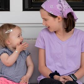 Girl Talk by Jack Nevitt - Babies & Children Children Candids ( porch, outside, talking, two, cousins, girl talk )