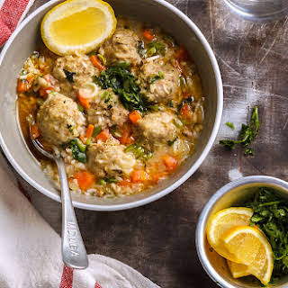 One-Pot Meatball and Rice Soup.