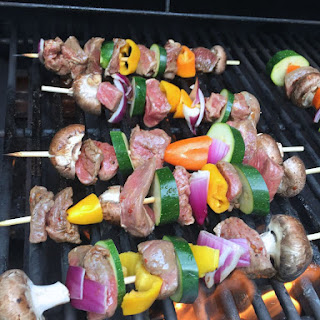 Steak and Veggie Kabobs with Creamy Avocado Dipping Sauce
