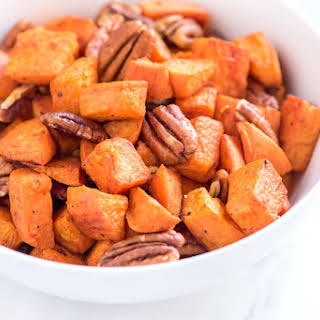 Coconut Oil Roasted Sweet Potatoes Recipe with Pecans.