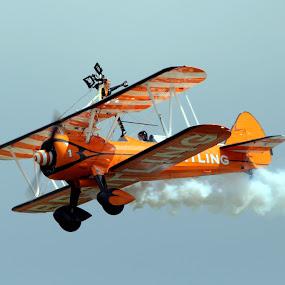 Breitling Wing Walker by Ralph Harvey - Transportation Airplanes ( blue, orange, color )