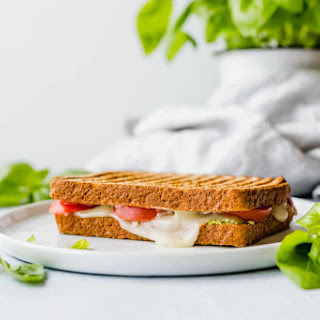 Grilled Tomato, Mozzarella, and Pesto Sandwich.