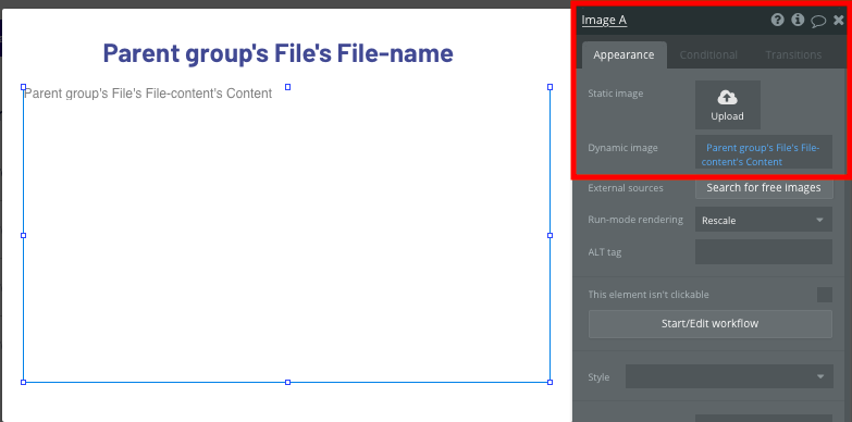 Displaying a dynamic Dropbox file on a no-code popup element
