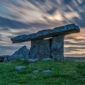 Poulnabrone dolmen 24-07-2017 by John Holmes - Landscapes Sunsets & Sunrises ( sky, burran, tomb, dolman, stone age, clouds, monument, acncient, clare, rocks, limestone, grass, sunset, world heritage site, evening, ireland, pavements )