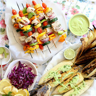 Grilled Swordfish Vegetable Kabobs & Corn with Creamy Cashew Cilantro Sauce.