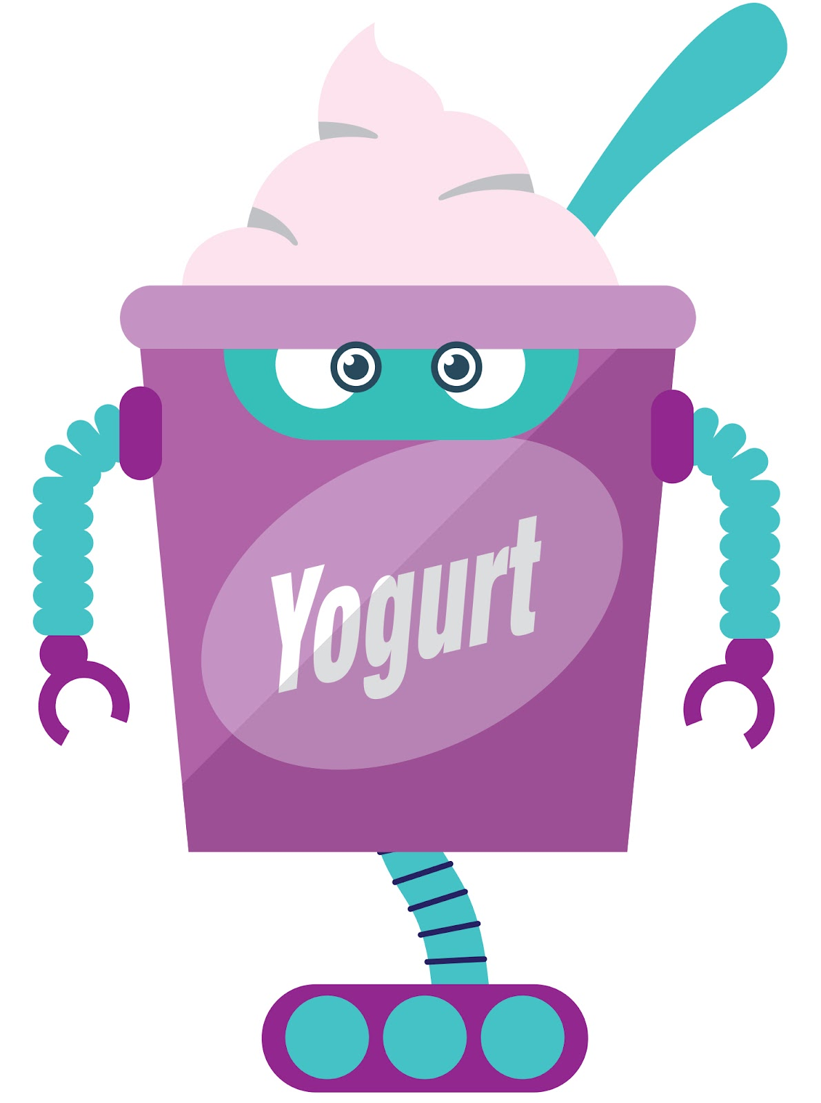 Cosmic looking Purple yogurt cup with face and arms and eyes