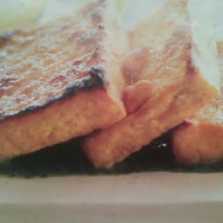 Broiled Tofu Over Cilantro Pesto.