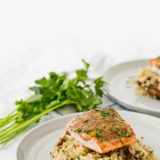 Spiralized Mushroom Turnip Risotto with Dijon-Honey Salmon.