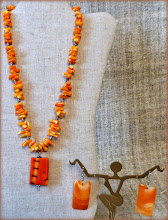 Photo: #189 CORONA RADIATA ~ ЖИТТЄДАЙНІСТЬ Coral pendant, coral, silver plate, shell $80/set