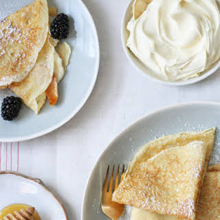 Crepes with Caramelized Pears, Blackberries and Mascarpone Cream.