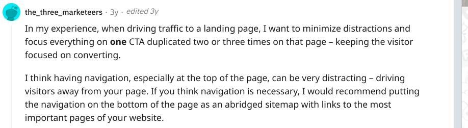 Reddit screenshot about navigation being distracting