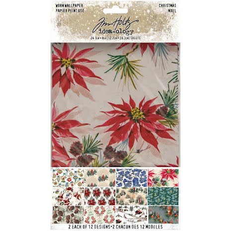 Tim Holtz Idea-Ology Worn Wallpaper 5X8 24/Pkg - Christmas 2020