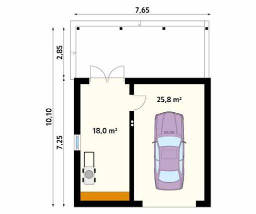 MS-G9 - Rzut garażu
