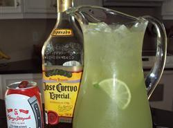 Combine rest of ingredients except ice in pitcher and stir.Pour into ice filled salted...