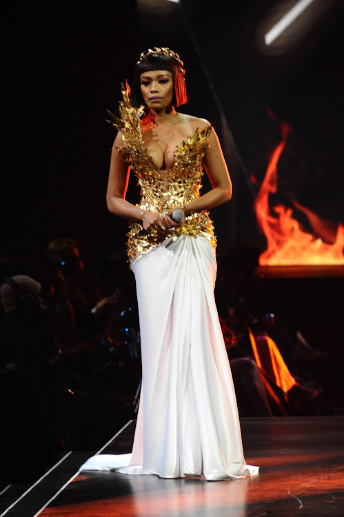 Bonang Matheba in Spero Villioti Couture during the grand finale of the Miss SA pageant on August 9 2019 in Pretoria.