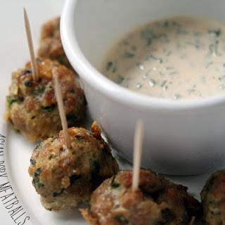 Asian Pork Meatballs with Dipping Sauce.