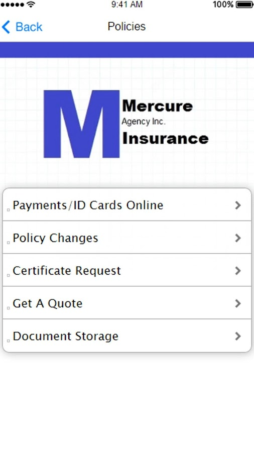 Mercure Insurance Agency- screenshot