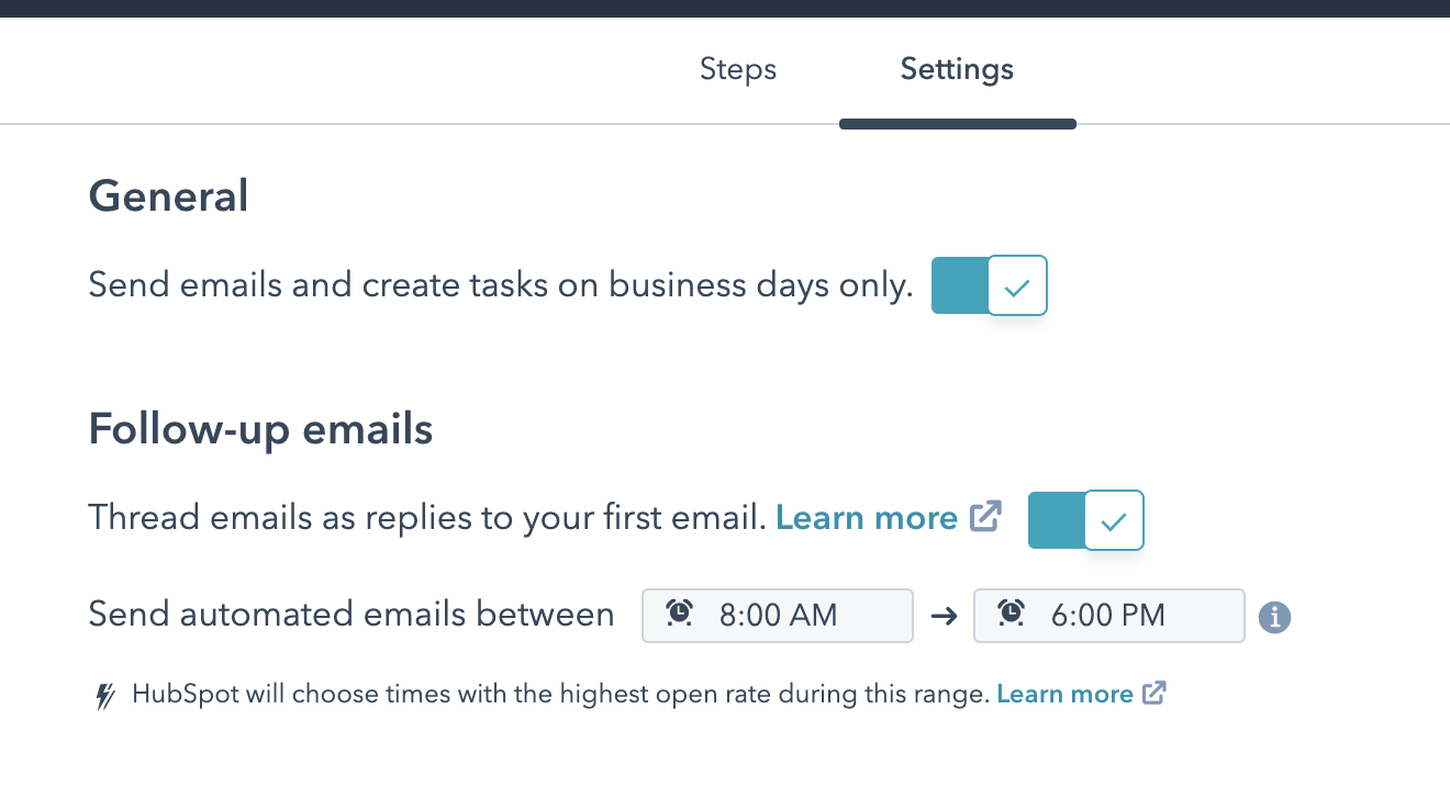 HubSpot Sales Sequence Settings