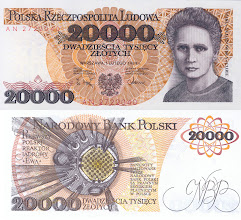 Photo: Marie Curie, 20000 old Polish Zloty (1989). his note is now obsolete.
