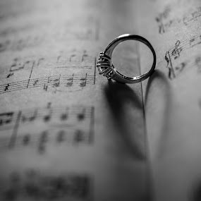 by H. Ava-Lyn Smith - Wedding Old - Engagement ( ring, macro, jewellery, engagement ring, music notes, love, postcard, valentine's day )