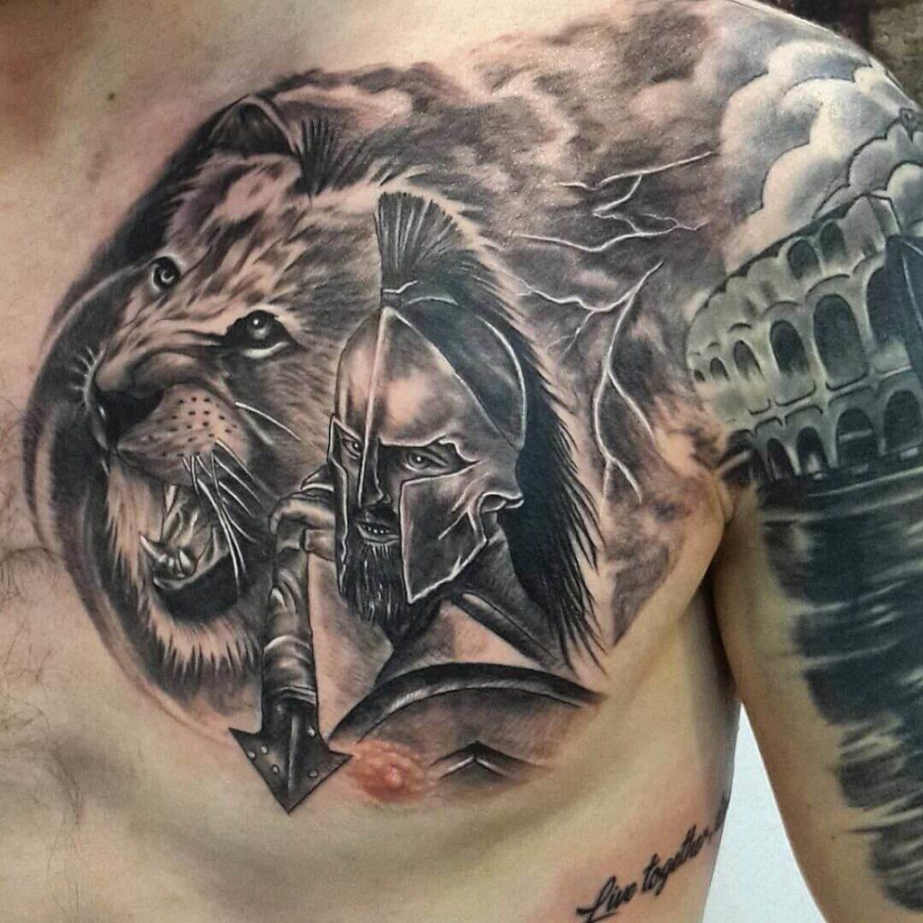 Spartan Tattoo on Chest