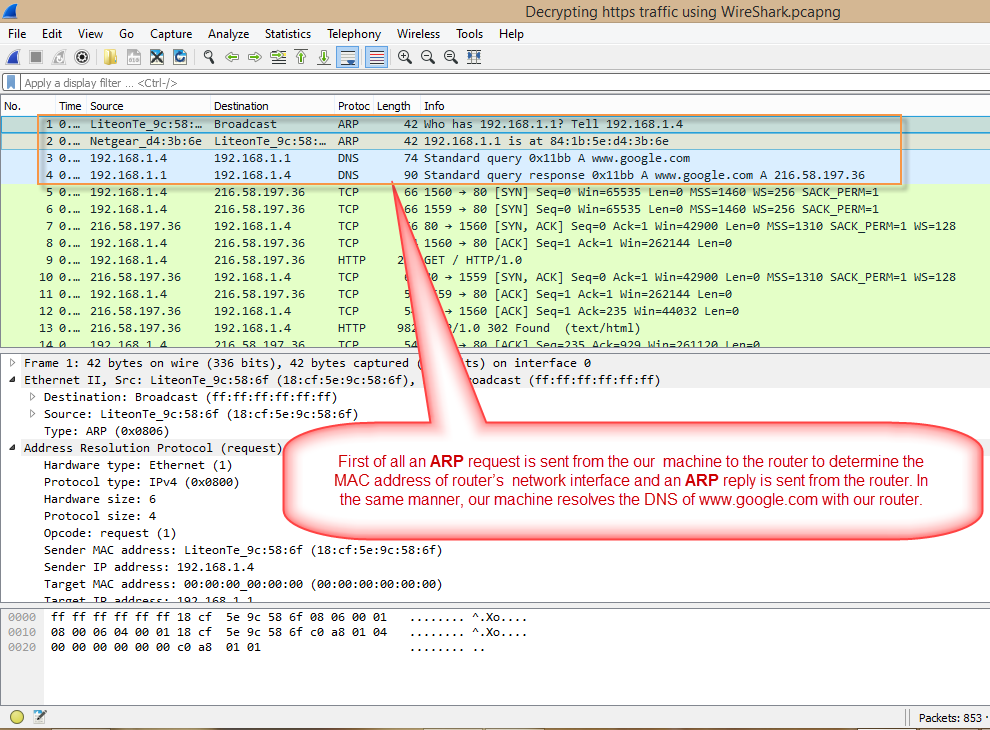 WireShark ARP and DNS resolution.png