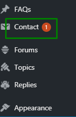 Contact form plugin section