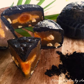 Baked Bamboo Charcoal Mooncakes.